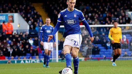 Flynn Downes on the ball during Ipswich Town's 2-1 defeat to Bristol Rovers at Portman Road Photo: R