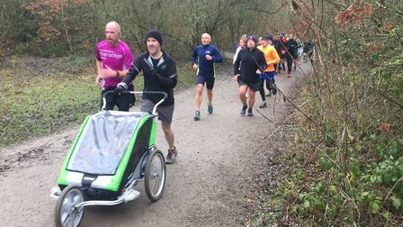The muddy woodland trails of Shorne Woods provided a challenge for all parkrunners, including those