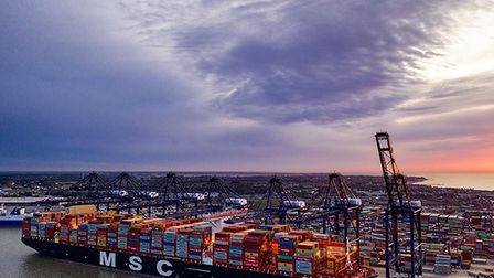 A container ship docking at the Port of Felixstowe to deliver imports - but how are Suffolk's export