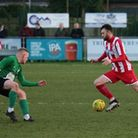 Ollie Canfer on the attack for Felixstowe & Walton United, against Soham on Saturday. Picture: MICK