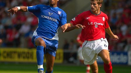 Marcus Bent, left, in action for Ipswich Town at Crewe. Bent has signed for Thurlow Nunn side Cornar