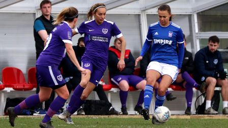 Paige Peake in action for Town Women during their FA Cup win over Portsmouth Photo: ROSS HALLS