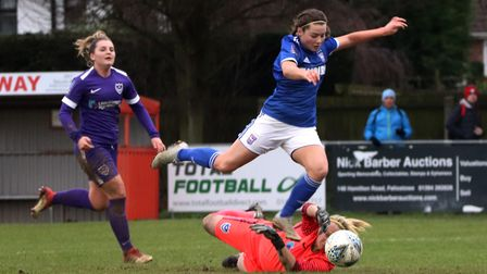 Maddie Biggs came close to adding a second for Town Women during their FA Cup win over Portsmouth Ph