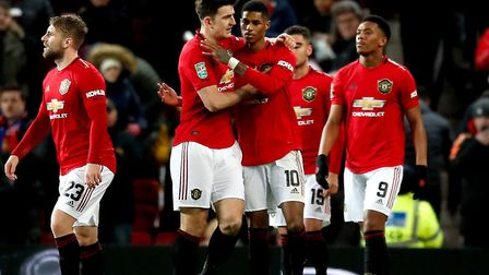 Manchester United's Marcus Rashford (10) celebrates scoring his side's first goal of the game in the