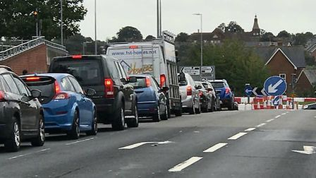 The work has been causing gridlock on Ipswich Road Picture: COLCHESTER VIEWS