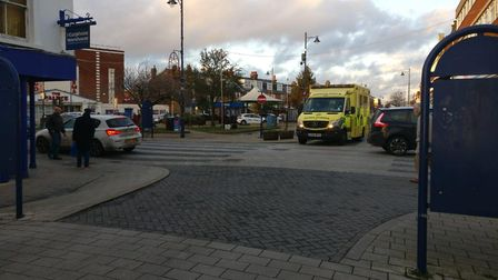 An ambulance was called after a man was hit by a car in Felixstowe town centre Picture: PAUL DAY