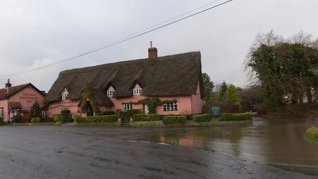 Thornham Magna also had alot of flooding near the Four Horseshoes Pub Picture: SARAH LUCY BROWN