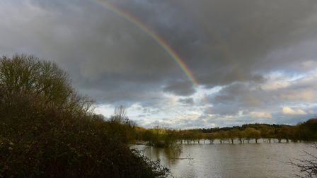 A double rainbow appeared over a flooded field near Coddenham Picture: SARAH LUCY BROWN