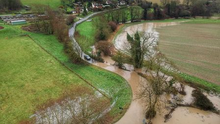 One drone pilot managed to capture the state of the roads near Flowton from the air Picture: DAN722