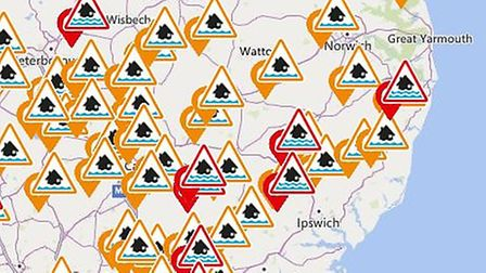 This map from the Environment Agency website shows flood warnings and alerts across East Anglia on t