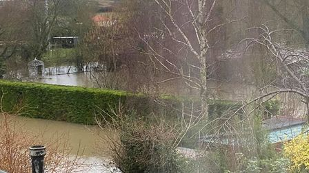 Gardens of homes in Benton street, Hadleigh, have been completely waterlogged Picture: JO PERRINS