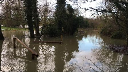 Clare country park play area is now filled with standing flood water Picture: KATIE REBECCA