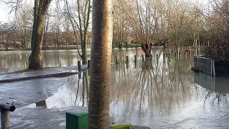 December's heavy rain caused flooding in places across the region this was the car park at Needham L