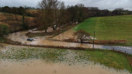 One driver bravely attempted to make it through the flood water Picture: DAN722