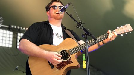 Vocalist Conor Adams on the Town 102 stage at Ipswich Music Day 2019 Picture: NEIL DIDSBURY