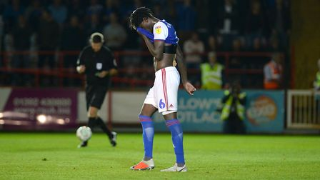 Trevoh Chalobah after his missed penalty in the shoot-out at Exeter Picture Pagepix