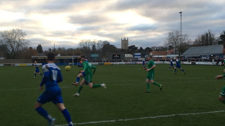 The scene at Ram Meadow this afternoon, as Bury Town take on Canvey Island. Picture: CARL MARSTON