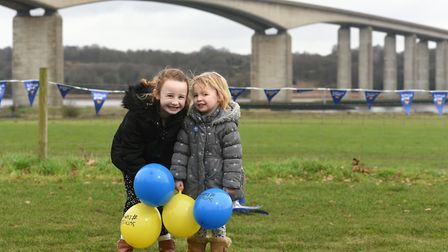 Maria and Anna Gornall getting excited about Suffolk Day 2020 Picture: SARAH LUCY BROWN