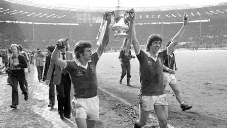 Match-winner Roger Osborne, left, and Paul Mariner celebrate Ipswich Town's FA Cup win in 1978. Pict