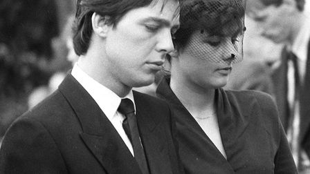 Jeremy Bamber and girlfriend Julie Mugford at the funeral of three members of his family a year befo
