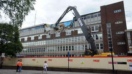 The former Ipswich Police Station in Civic Drive being demolished in 2015 Picture: PHIL MORLEY