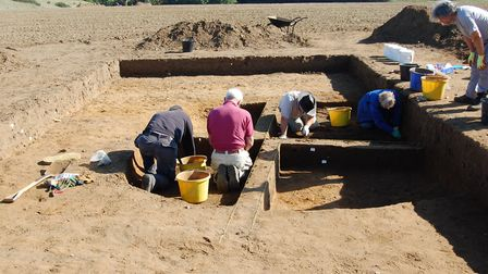 Volunteers excavating an Anglo-Saxon house at Rendlesham Picture: SUFFOLK COUNTY COUNCIL