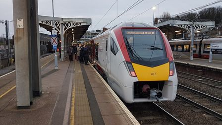 The first new Intercity train at Ipswich station carrying passengers from East Anglia to London. Pic
