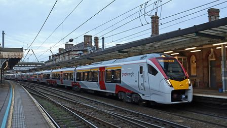 The new Greater Anglia Intercity train at Ipswich on its first day in passenger service. Tom Hunt wa