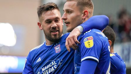 Luke Chambers and Luke Woolfenden pictured after Town had taken an early lead.Picture: Steve