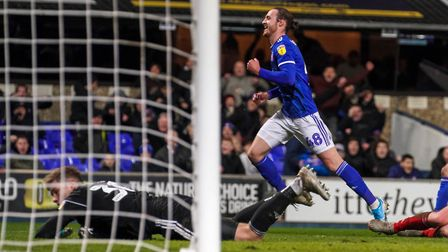 Will Keane turns to celebrate after scoring Town's final goal in the 4-1 victory.Picture: Steve