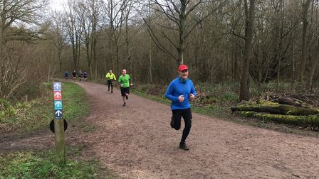 Runners approach the finish to Saturday's Salcey Forest parkrun, in Northamptonshire. Picture; CARL