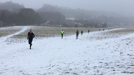 The snowy scene at the Panshanger parkrun, in March, 2018. Picture: CARL MARSTON