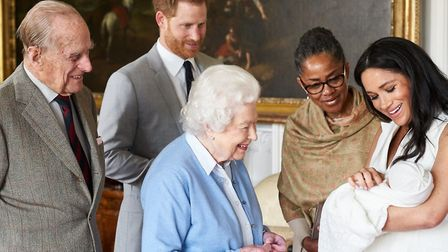 The Queen and the Duke of Edinburgh meeting great grandchild Archie, with proud parents Prince Harry