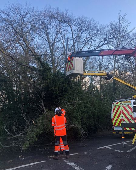 An emergency road closure has been put in place in Clacton Road, Manningtree. Picture: ESSEX HIGHWAY