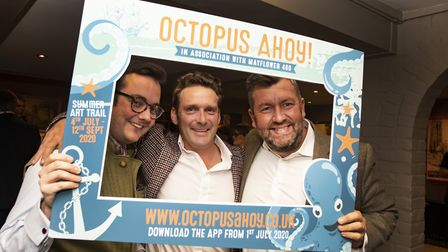 Jonathan Benson, Thom Mitchell and Stas Anastasiades at the Octopus Ahoy! business reception in cele