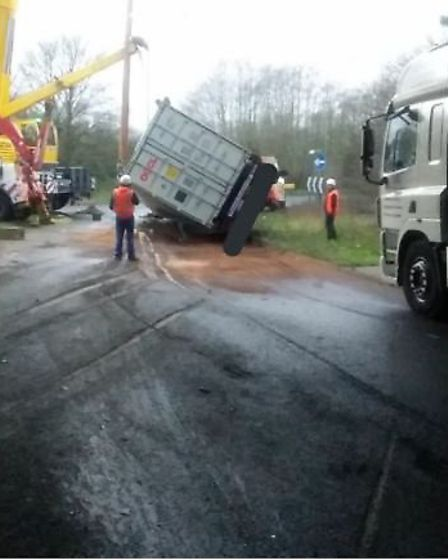 A lorry has been recovered on the roundabout connecting the A14 and the A140. Picture: NSRAPT