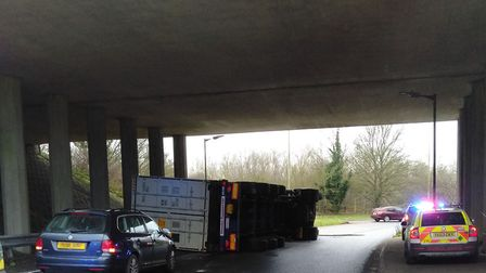 Single lorry accident on A140/A14 roundabout at around 9.45am Picture: NICK BERRY