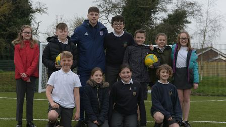 Zak Brown with Colneis Primary School's sports leaders Picture: SARAH LUCY BROWN