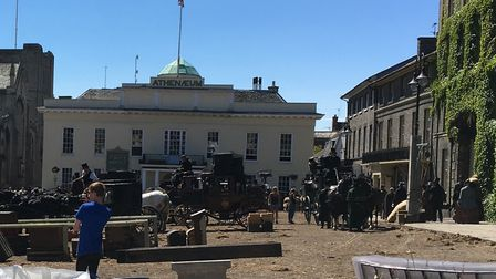 The film crew transformed Bury's Angel Hill into a bustling London street for The Personal History o