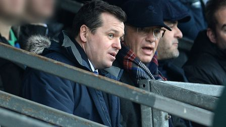 Ipswich Town's general manager of football operations Lee O'Neill talks to club owner Marcus Evans a