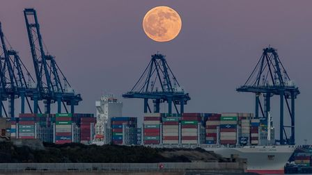 Wolf moon over Felixstowe docks Picture: KEVIN JAY