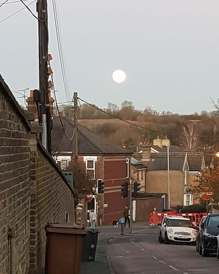 Wolf moon seen from Fairfield Hill in Stowmarket Picture: CHERYL FITTON