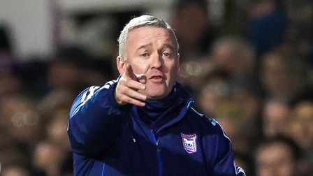 Town manager Paul Lambert animated during the game.Picture: Steve Waller www.stephenwaller