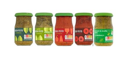 These five jars are being recalled due to potential contamination with peanuts Picture: SAINSBURY'S
