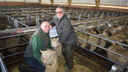 Seller Chris Reeks of La Hogue Farms and buyer Graham Ellis, auctioneer at Stanfords, with the sheep