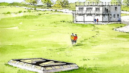 Artist's impression of the memorial that will be built at the former Lavenham airfield in tribute to