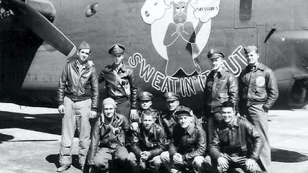 The crew of 'Sweatin' It Out', a B-24 bomber from 838 Squadron, part of the the 487th Bomb Group, ba