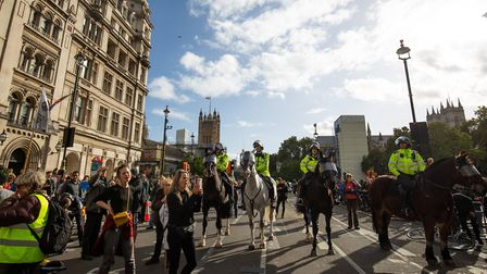 Climate change protesters outside the Palace of Westminster during an Extinction Rebellion (XR) prot