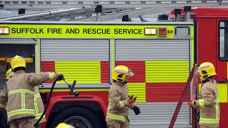 Firefighters were called to the address in Ipswich. Picture: PHIL MORLEY