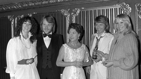 A PA file photo of ABBA with Princess Margaret. Picture: PA.